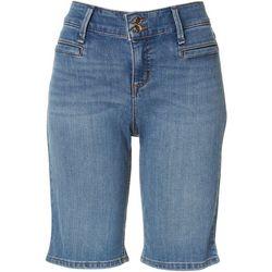 Anne Klein Womens Double Button Bermuda Jean Shorts