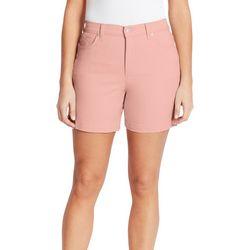 Gloria Vanderbilt Womens Solid Button Bermuda Shorts