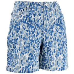 Gloria Vanderbilt Womens Blue Leopard Shorts