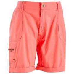 Fresh Womens Solid Roll Tab Shorts