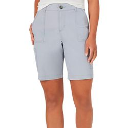 Lee Womens Solid Color Hi Rise Design Bermuda Shorts