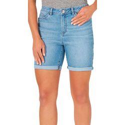 Lee Womens High Rise Denim Ligh Wash Bermuda Shorts