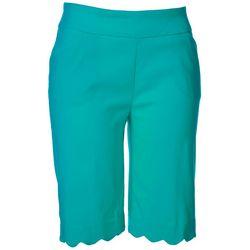 Coral Bay Womens Pull On Scalopped Hem Bermuda Shorts