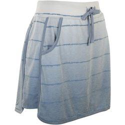 Silverwear Womens Ombre Stripe Pocket Tulip Hem Skort