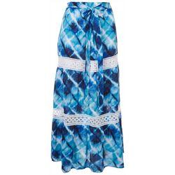 Hailey Lyn Womens Tie-Dye Crocheted Maxi Skirt