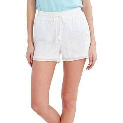 Stella Parker Womens Solid Eyelet Floral Shorts