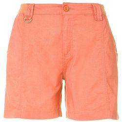 Caribbean Joe Womens Solid Stretch Waist Shorts