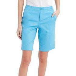 Caribbean Joe Womens High Rise Solid Bermuda Shorts