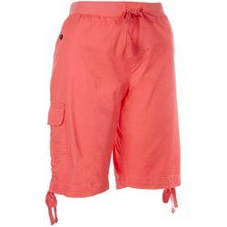 Fresh Womens Solid Tie Waist Cargo Skimmer Shorts