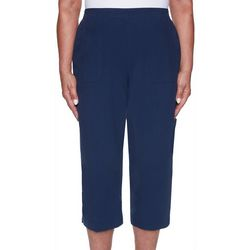 Alfred Dunner Womens Solid Cotton Capris