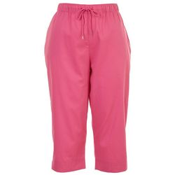 Coral Bay Womens Solid Drawstring Pull On Capris