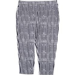 Womens Suave Striped Capri Leggings