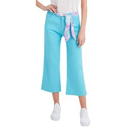Stella Parker Womens Solid Fabric Belt Twill Pants