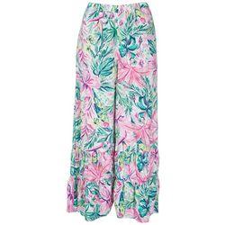 Stella Parker Womens Floral Ruffled Pants