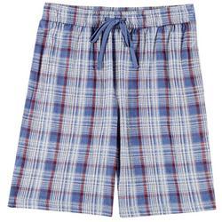 Mens Plaid Print Pajama Shorts