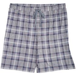 Mens Grey Plaid Pajama Shorts
