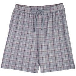 Mens Grey Grid Plaid Pajama Shorts