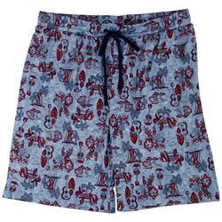 Mens Beach Day Print Pajama Shorts