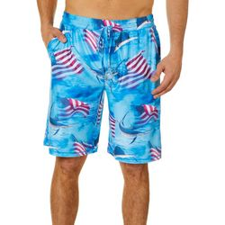 Reel Legends Mens Patriotic Fish Pajama Shorts