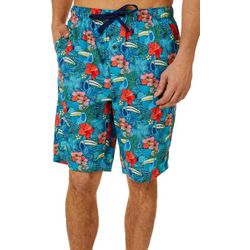 Mens Toucan Floral Bermuda Sleep Shorts