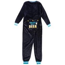 Mens Fleece Beeer Pajama Suit