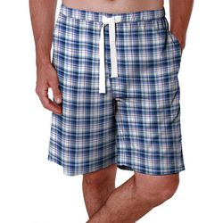 IZOD Mens Checkered Plaid Print Sleep Shorts