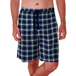 Mens Checkered Plaid Design Sleep Shorts