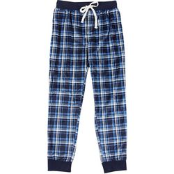 Mens Plaid Fleece Pajama Jogger Pants
