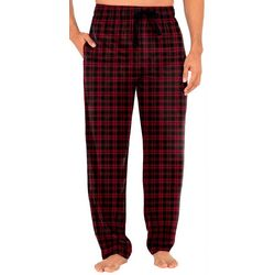 Mens Plaid Print Silky Fleece Pajama Pants