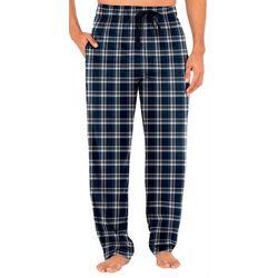 Mens Plaid Silky Fleece Pajama Pants