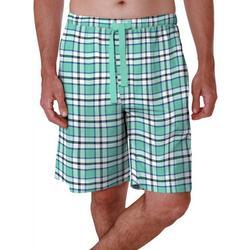 Mens Lite Touch Fleece Checkered Print Sleep Shorts