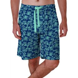 IZOD Mens Lite Touch Fleece Tropical Print Sleep Shorts