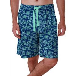 Mens Lite Touch Fleece Tropical Print Sleep Shorts