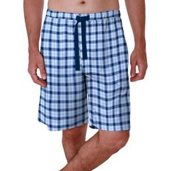 IZOD Mens Microsand Plaid Sleep Shorts