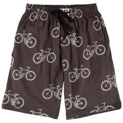 Mens Bicycle Print Pajama Shorts