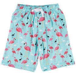 Mens Flamingo Print Pajama Shorts