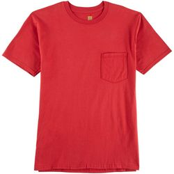 Mens Solid Pocket Crew Neck Sleep T-Shirt