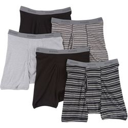 Hanes Mens 5-pk. Stripes & Solid Boxer Briefs