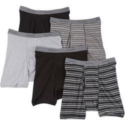 Mens 5-pk. Stripes & Solid Boxer Briefs