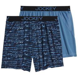 Jockey Mens 2-pk. Microfiber No Bunch Stripe Boxers