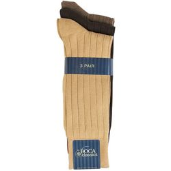 Boca Classics Mens 3-pk. Multi-Colored Ribbed Crew Socks