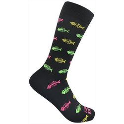 Funky Socks Mens Fish Bone Crew Socks