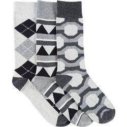 Fun Socks Mens 3-pk. Geometric Print Crew Socks