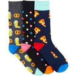 Fun Socks Mens 3-pk. Pizza & Beer Crew Socks