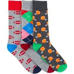 Fun Socks Mens 3-pk. Football Crew Socks