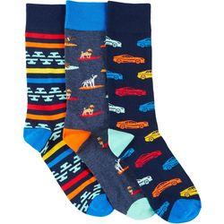 Fun Socks Mens 3-pk. Dogs & Cars Crew Socks