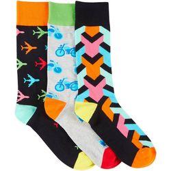 Fun Socks Mens 3-pk. Bikes & Planes Crew Socks