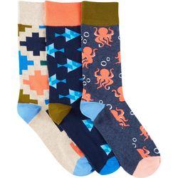 Fun Socks Mens 3-pk. Octopus & Fish Crew Socks