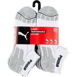 Puma Mens 6-Pk Performance Terry Quarter Crew Socks