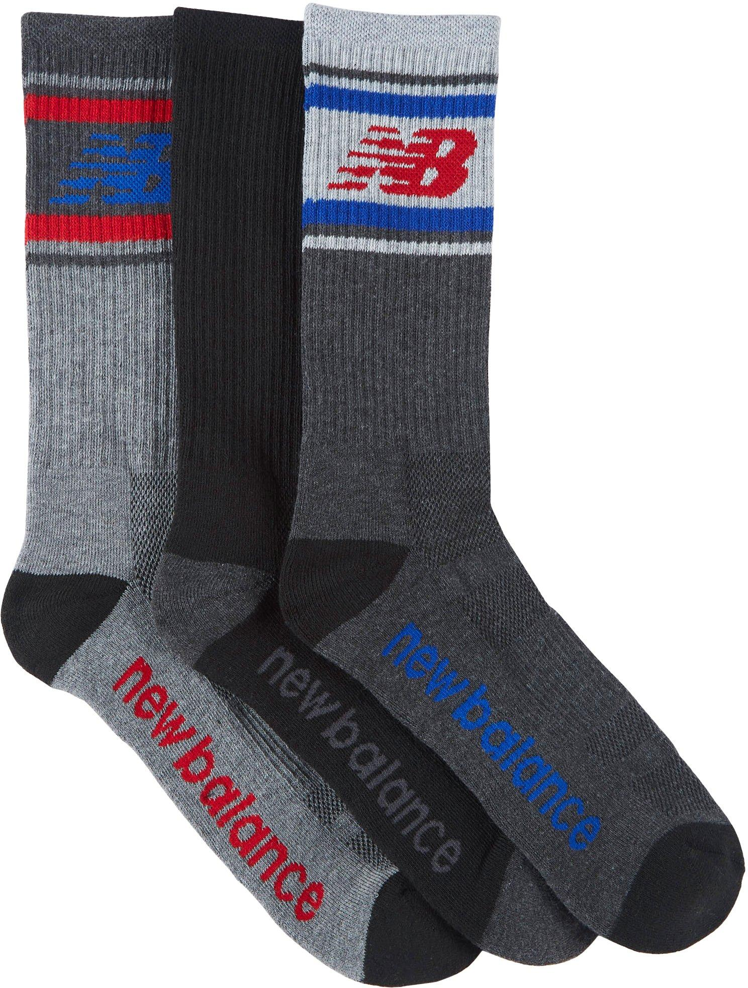 New Balance Mens 3-pk Performance Cushioned Crew Socks